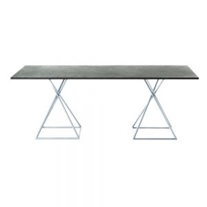 Jane Hamley Wells BB 8102 rectangle dining table granite on stainless steel square base
