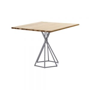 Jane Hamley Wells BB_BB8211_A modern indoor outdoor square dining table teak stainless steel hexagon base