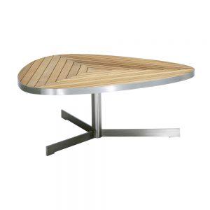 Jane Hamley Wells KURF_8705 luxury modern outdoor triangle coffee table teak stainless steel