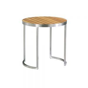 Jane Hamley Wells KURF_8707 luxury modern outdoor round side table teak stainless steel